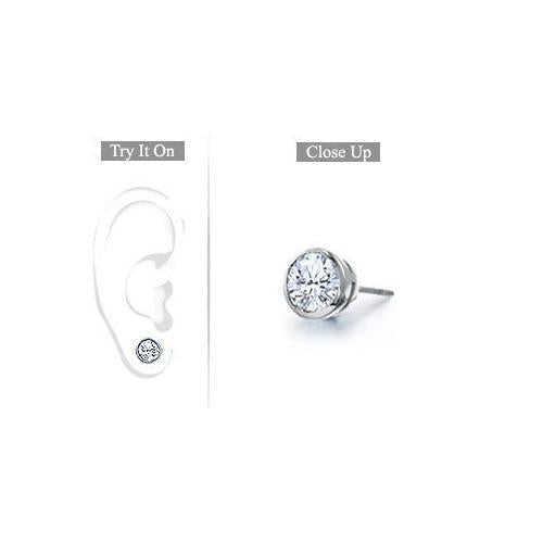Mens Platinum : Bezel Set Round Diamond Stud Earring - 0.50 CT. TW.-JewelryKorner-com