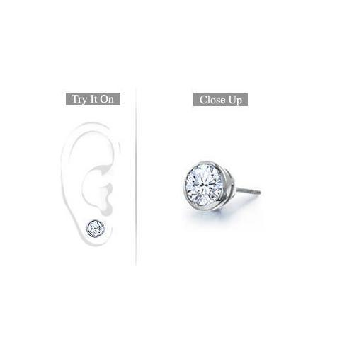 Mens Platinum : Bezel Set Round Diamond Stud Earring - 0.75 CT. TW.-JewelryKorner-com