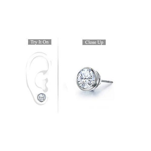 Mens Platinum : Bezel Set Round Diamond Stud Earring - 1.00 CT. TW.-JewelryKorner-com