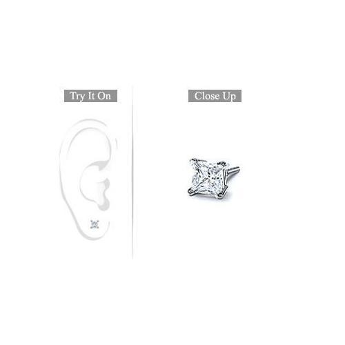 Mens Platinum : Princess Cut Diamond Stud Earring - 0.25 CT. TW.-JewelryKorner-com