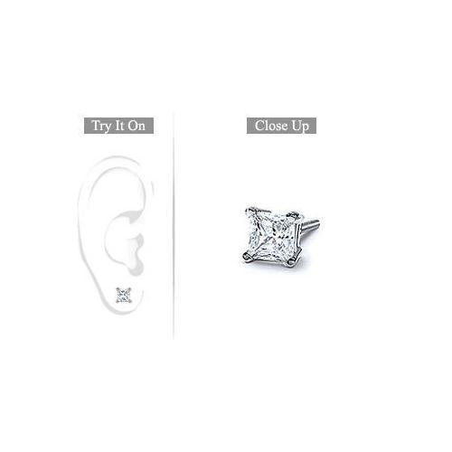 Mens Platinum : Princess Cut Diamond Stud Earring - 0.75 CT. TW.-JewelryKorner-com