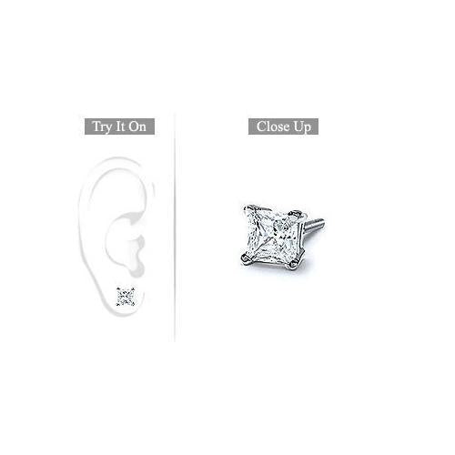 Mens Platinum : Princess Cut Diamond Stud Earring - 1.00 CT. TW.-JewelryKorner-com