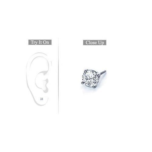 Mens Platinum : Round Diamond Stud Earring 0.15 CT. TW.-JewelryKorner-com