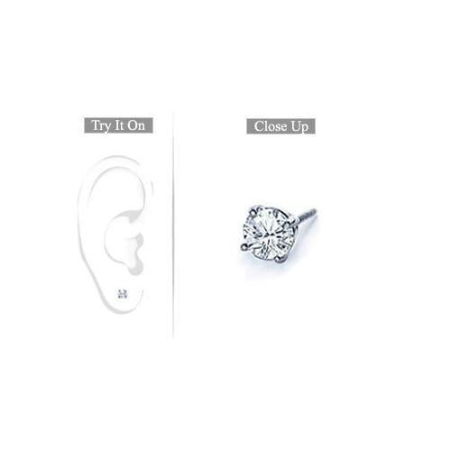 Mens Platinum : Round Diamond Stud Earring 0.25 CT. TW.-JewelryKorner-com