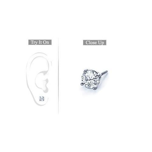 Mens Platinum : Round Diamond Stud Earring 0.50 CT. TW.-JewelryKorner-com
