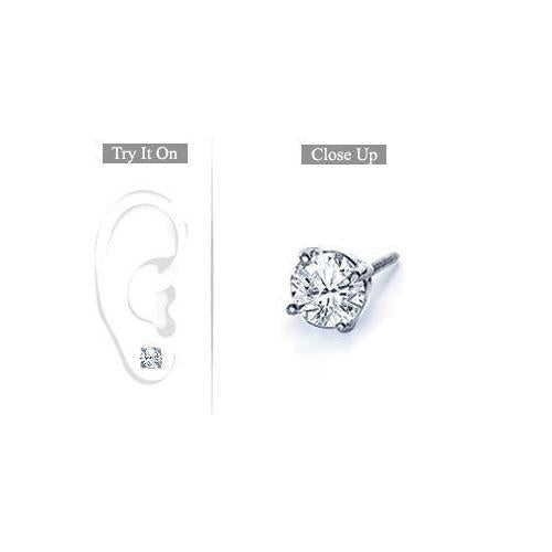 Mens Platinum : Round Diamond Stud Earring 1.00 CT. TW.-JewelryKorner-com
