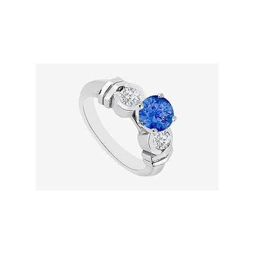Natural Sapphire and Diamond Engagement Ring in 14K White Gold 0.90 Carat TGW-JewelryKorner-com