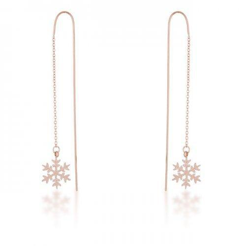 Noelle Rose Gold Stainless Steel Snowflake Threaded Drop Earrings (pack of 1 ea)-JewelryKorner-com