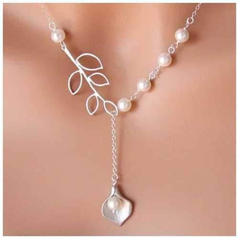 Pearly Lily Lariat Necklace in Sterling Silver and Real Pearl-JewelryKorner-com
