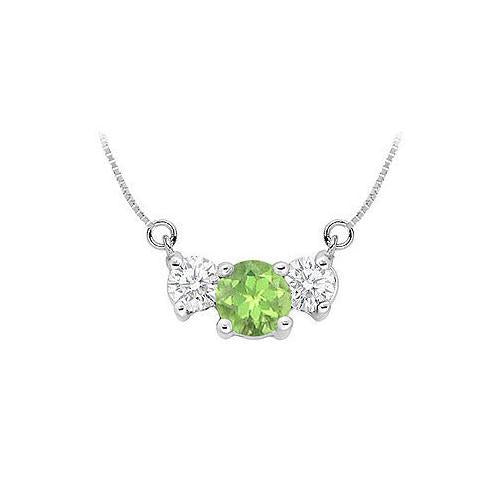Peridot and Cubic Zirconia Pendant : .925 Sterling Silver - 1.50 CT TGW-JewelryKorner-com