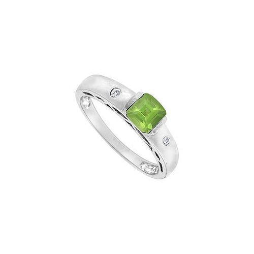 Peridot and Diamond Ring : 14K White Gold - 1.00 CT TGW-JewelryKorner-com