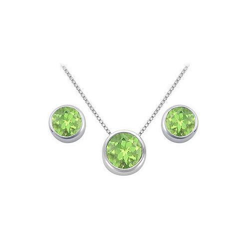 Peridot Pendant and Stud Earrings Set in Sterling Silver 2.00 CT TGW-JewelryKorner-com