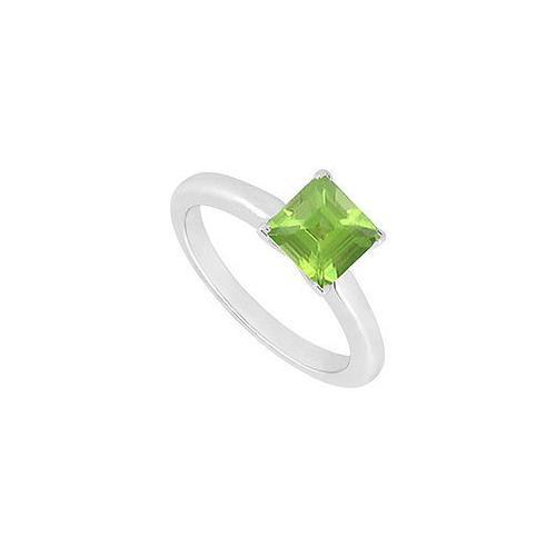 Peridot Ring : 14K White Gold - 0.75 CT TGW-JewelryKorner-com