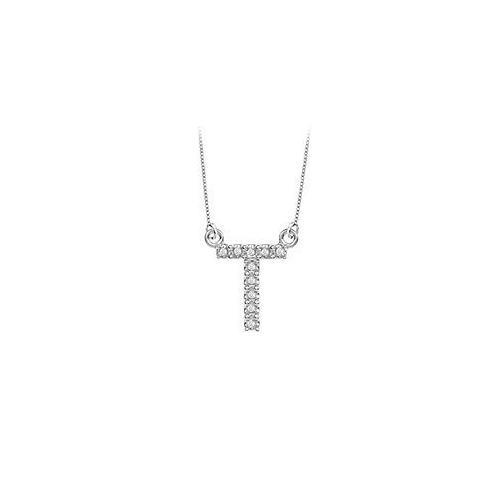 Petite Baby Charm Cubic Zirconia T Initial Pendant : .925 Sterling Silver - 0.15 CT TGW-JewelryKorner-com