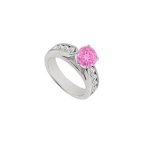 Pink Sapphire and Diamond Engagement Ring 14K White Gold 0.75 CT TGW-JewelryKorner-com