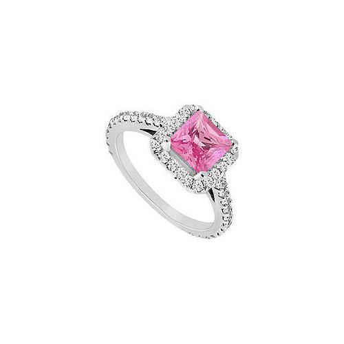 Pink Sapphire and Diamond Engagement Ring : 14K White Gold - 1.00 CT TGW-JewelryKorner-com