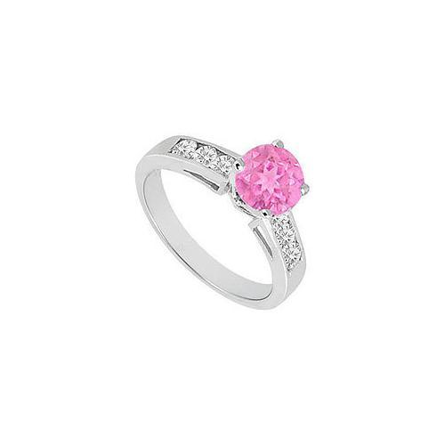 Pink Sapphire and Diamond Engagement Ring 14K White Gold 1.00 CT TGW-JewelryKorner-com