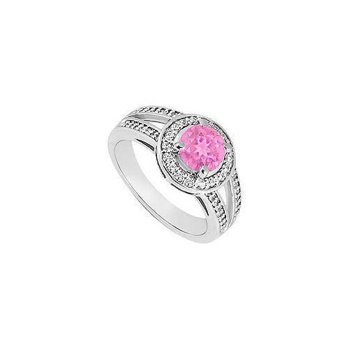 Pink Sapphire and Diamond Engagement Ring : 14K White Gold 1.50 CT TGW-JewelryKorner-com