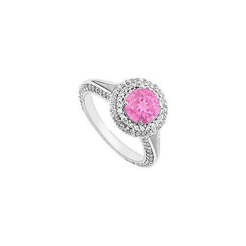 Pink Sapphire and Diamond Engagement Ring : 14K White Gold 2.00 CT TGW-JewelryKorner-com