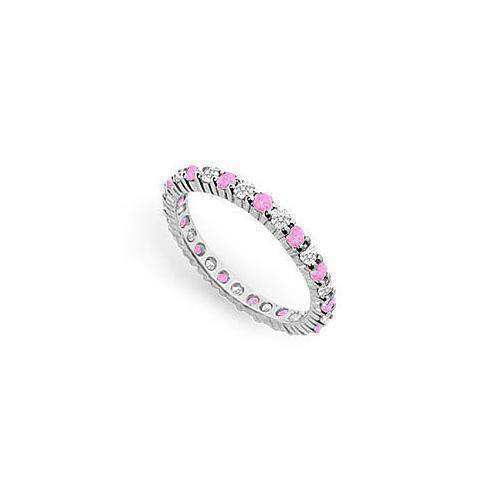 Pink Sapphire and Diamond Eternity Band : 14K White Gold – 1.00 CT TGW-JewelryKorner-com