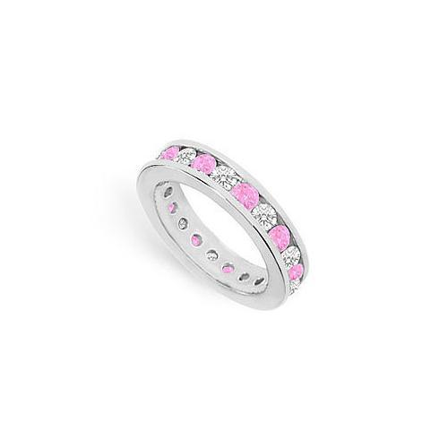 Pink Sapphire and Diamond Eternity Band : 14K White Gold – 2.00 CT TGW-JewelryKorner-com