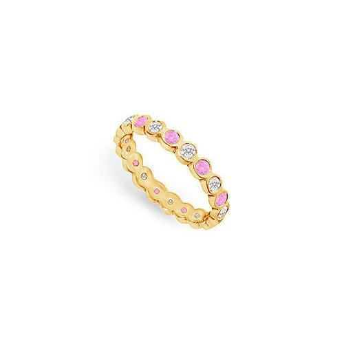Pink Sapphire and Diamond Eternity Band : 14K Yellow Gold – 1.00 CT TGW-JewelryKorner-com