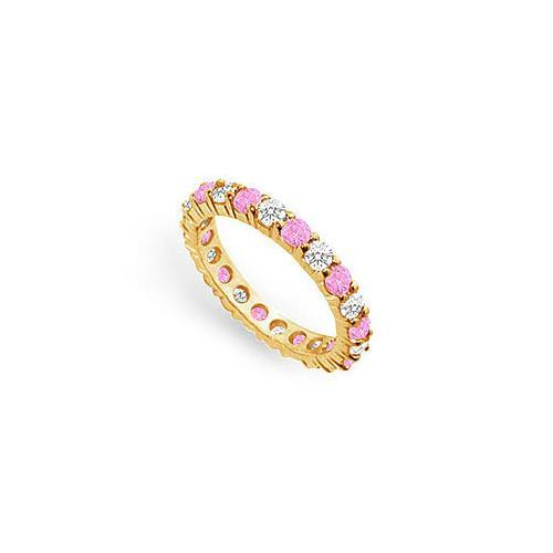 Pink Sapphire and Diamond Eternity Band : 14K Yellow Gold – 2.00 CT TGW-JewelryKorner-com