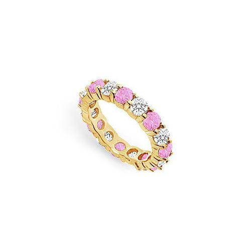 Pink Sapphire and Diamond Eternity Band : 14K Yellow Gold – 3.00 CT TGW-JewelryKorner-com