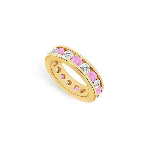Pink Sapphire and Diamond Eternity Band : 14K Yellow Gold – 4.00 CT TGW-JewelryKorner-com