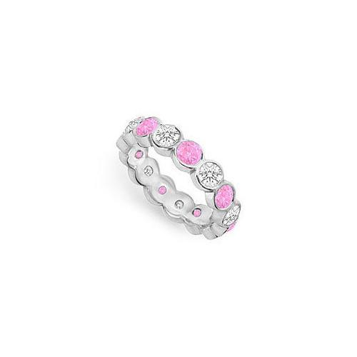Pink Sapphire and Diamond Eternity Band : 18K White Gold – 2.00 CT TGW-JewelryKorner-com