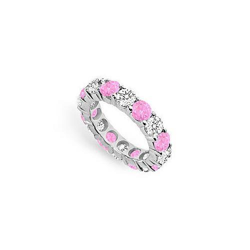 Pink Sapphire and Diamond Eternity Band : 18K White Gold – 5.00 CT TGW-JewelryKorner-com