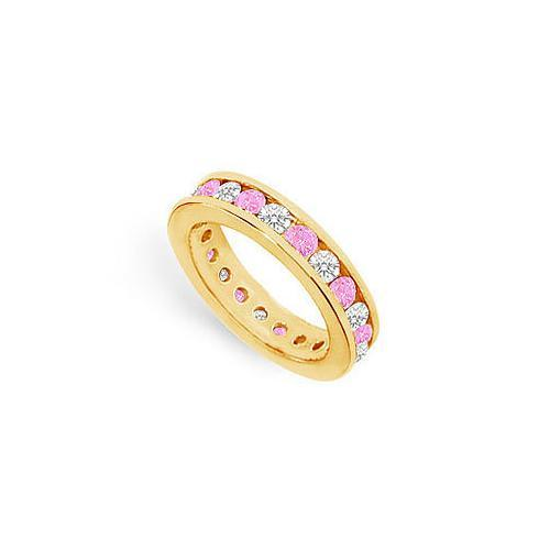 Pink Sapphire and Diamond Eternity Band : 18K Yellow Gold – 2.00 CT TGW-JewelryKorner-com