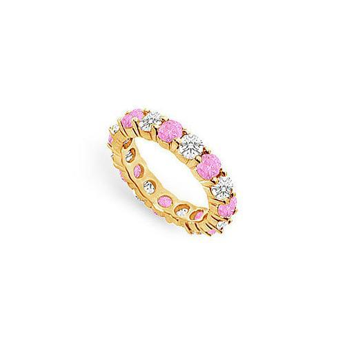 Pink Sapphire and Diamond Eternity Band : 18K Yellow Gold – 4.00 CT TGW-JewelryKorner-com