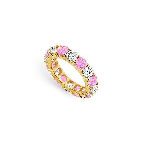 Pink Sapphire and Diamond Eternity Band : 18K Yellow Gold – 5.00 CT TGW-JewelryKorner-com