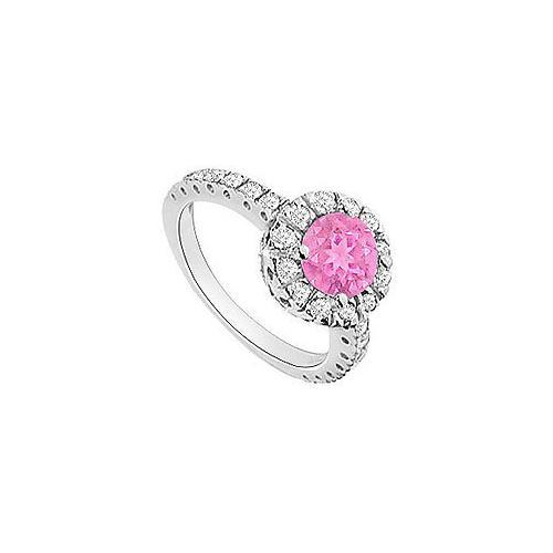 Pink Sapphire and Diamond Halo Engagement Ring : 14K White Gold - 1.30 CT TGW-JewelryKorner-com