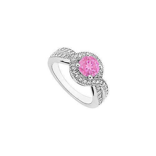 Pink Sapphire and Diamond Halo Engagement Ring : 14K White Gold - 1.33 CT TGW-JewelryKorner-com