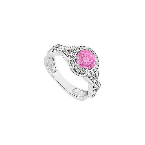 Pink Sapphire and Diamond Halo Engagement Ring : 14K White Gold - 1.40 CT TGW-JewelryKorner-com