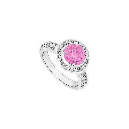 Pink Sapphire and Diamond Halo Engagement Ring : 14K White Gold - 1.50 CT TGW-JewelryKorner-com