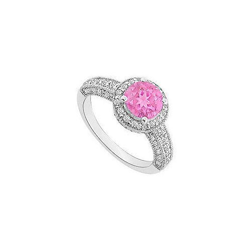 Pink Sapphire and Diamond Halo Engagement Ring : 14K White Gold - 1.55 CT TGW-JewelryKorner-com