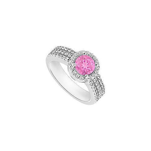 Pink Sapphire and Diamond Halo Engagement Ring : 14K White Gold - 1.60 CT TGW-JewelryKorner-com