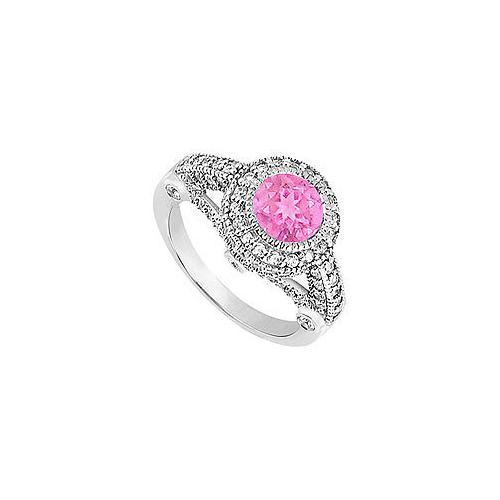 Pink Sapphire and Diamond Halo Engagement Ring : 14K White Gold - 1.75 CT TGW-JewelryKorner-com