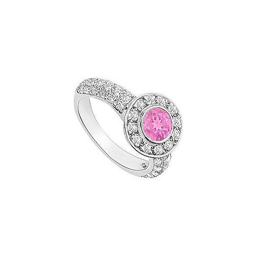 Pink Sapphire and Diamond Halo Engagement Ring : 14K White Gold - 2.25 CT TGW-JewelryKorner-com