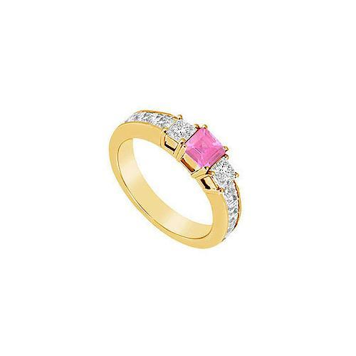 Pink Sapphire and Diamond Ring : 14K Yellow Gold - 1.00 CT TGW-JewelryKorner-com