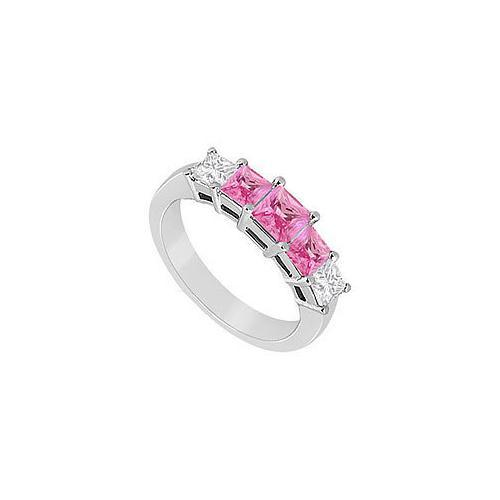 Pink Sapphire and Diamond Wedding Band : 14K White Gold - 1..00 CT TGW-JewelryKorner-com