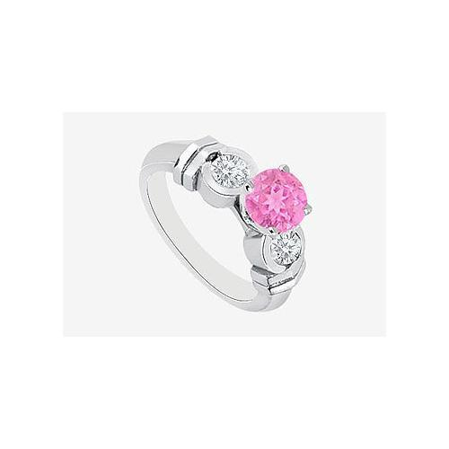 Pink Sapphire center Engagement Ring with side Diamond in 14K White Gold 0.90 Carat TGW-JewelryKorner-com