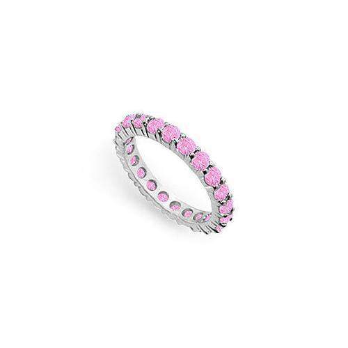 Pink Sapphire Eternity Band : 14K White Gold – 2.00 CT TGW-JewelryKorner-com