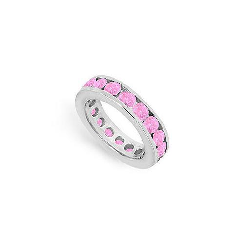 Pink Sapphire Eternity Band : 14K White Gold – 3.00 CT TGW-JewelryKorner-com