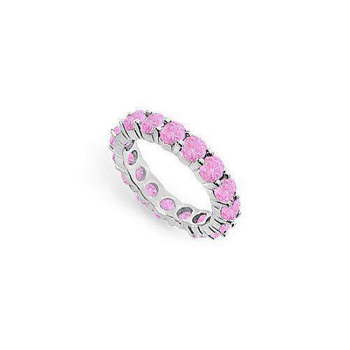 Pink Sapphire Eternity Band : 14K White Gold – 4.00 CT TGW-JewelryKorner-com