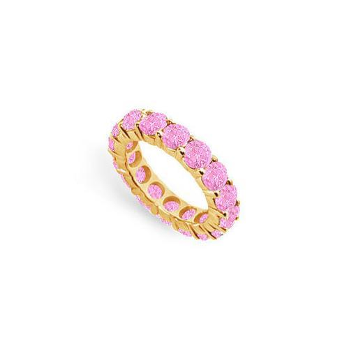 Pink Sapphire Eternity Band : 14K White Gold – 5.00 CT TGW-JewelryKorner-com