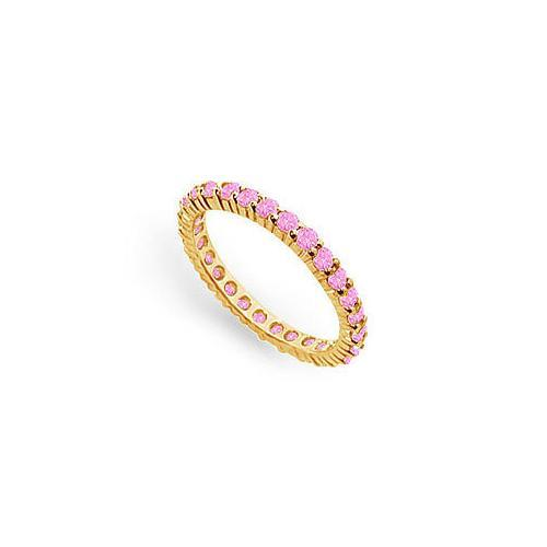 Pink Sapphire Eternity Band : 14K Yellow Gold – 1.00 CT TGW-JewelryKorner-com